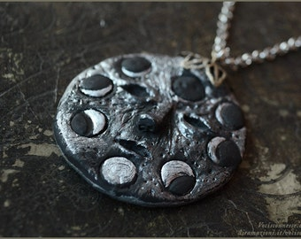 Moon phase Lunar phases amulet handsculpted pendant - Handmade jewelry sculpt