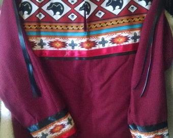 Red BEAR MEDICINE 2 piece native American style dance regalia womens full skirt, ribbon shirt, southeastern style