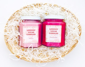 Candle hamper, Floral Scents, Rose Candle, Sweet Pea Candle, Floral Candle, Pretty Scents, Gift Hamper, Gift For Candle Lover