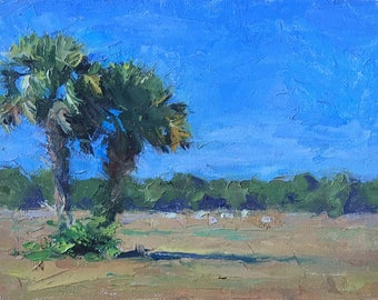 Palm Tree Tropical Painting - Small Painting - 6x8 - Impasto Strokes - Impressionist Painting - Two Palm Trees - Florida Landscape Painting