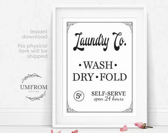 Laundry Co Sign / Wash Dry Fold Sign / Laundry Room Art / Laundry Sign / Laundry Room Decor / Sign for Laundry Room / Farmhouse Decor