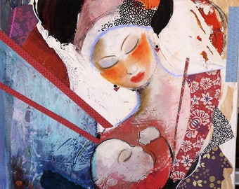 "Abstract art acrylic on wood, original art, mixed media painting, abstract painting, collage, ""maternity"""