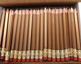 48 Gold Mini short half Hexagon Golf #2 Pencils W/erasers Pre-Sharpened Made In the USA  Non Toxic Latex Free Express PencilsTM