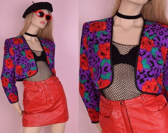 80s Floral Animal Print Cropped Silk Jacket/ US 10/ 1980s