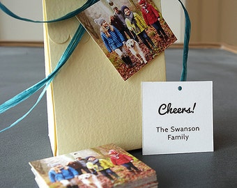 Gift Tags for Holiday Presents - Add a family photo and message (Square Tags)