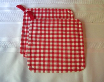 Red and White Checked Pot Holders