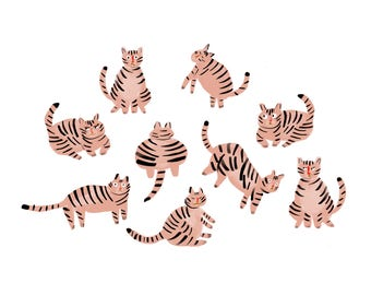 Pink kitties - glicée print