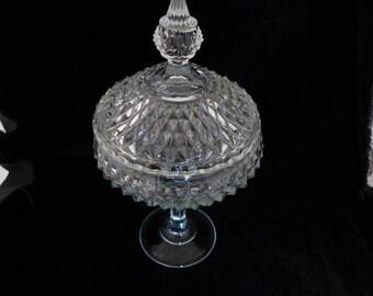 SALE! Vintage Elegant Cut Glass Lidded  Compote, Home Decor, Holidays,Weddings