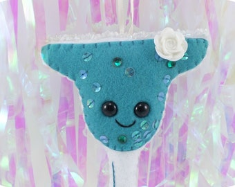 Teal Margarita with salt rim - rhinestones sequins