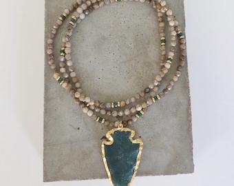 Emerald Green Agate Arrowhead Pendant on Gemstone Beaded Necklace