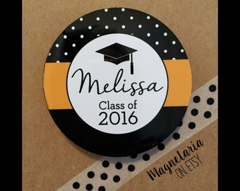 Dots and Stripes graduation favor photo magnets, set of 12, 2.25 inches round