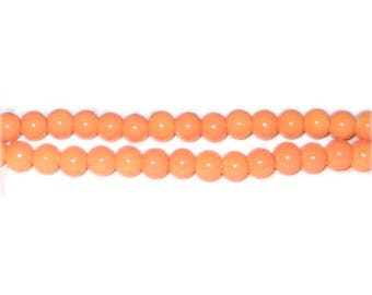 6mm Bright Orange Team and School Glass Bead, approx. 73 beads