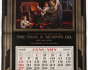 Antique 1935 Thomas D Murphy Hearth & Home Calendar Sample Titled Home Is Where The Heart Is
