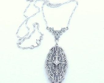 Vintage,Sterling Silver, Victorian Era, Silver Filigree Necklace, Diamond Necklace, Vintage Jewelry