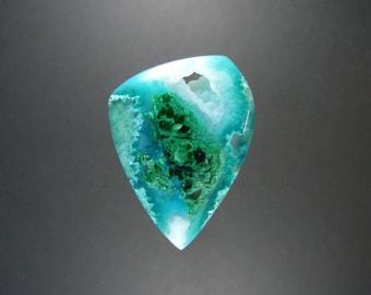 Inspiration Gem Silica /w Chatoyant Malachite /w Botryoidal Chalcedony Pocket Cabochon