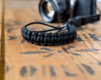Camera Wrist Strap – Black / Black Steel Clip - apmots - Sling Paracord Mirrorless DSLR Compact