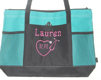 Nursing Tote Bag; Perfect for Nurses and other Professionals; Nurse bag; RN, LPN; Embroidered at no additional cost