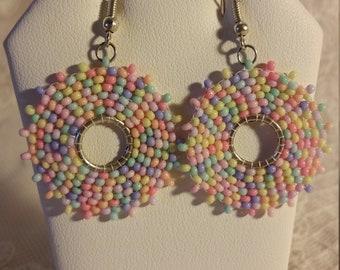 Beadweaved Dangle Earrings in Pastels