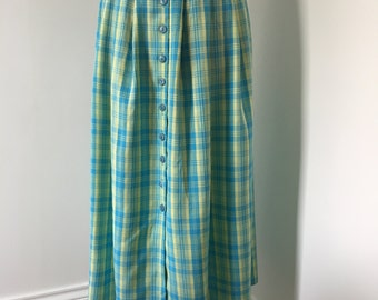 Vintage 80s Calf Length Checkered Button Up Skirt Size UK 12 14 in Yellow & Blue