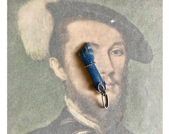 Vintage Figa Hand, Lapis Lazuli, 925 Silver Blue Pendant, Modernist Hand Lucky Charm, 1960s Talisman, Mano Fico Hand, Lucky Charm, Amulet