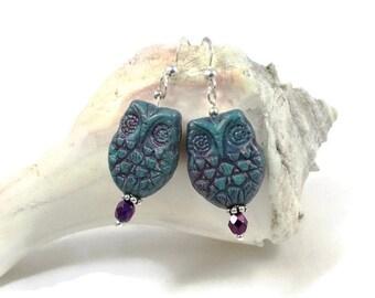 Owl Earrings | Retro Earrings | Teal Earrings | Turquoise Earrings | Owl Jewelry | Silver Owl Earrings | Trendy Jewelry | Solana Kai Designs