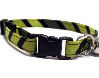 Green Chevron Kitten or Cat Collar Adjustable olive black cotton Fabric with bell and Break Away Buckle Large Quick Release