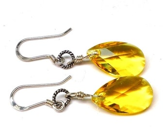 Sterling silver yellow swarovski earrings - dangle earrings - crystal earrings - silver earrings - swarovski jewelry - womens earrings