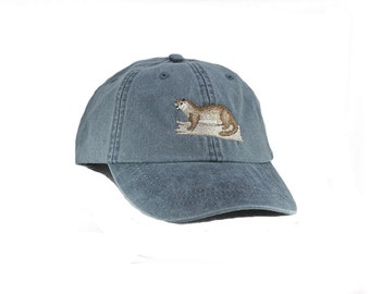 Otter embroidered hat, baseball cap, otter cap, otter hat, dad hat, mom cap, wildlife, nature hat, animal, hunting, baseball hat