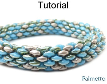 Beaded Bracelets and Necklaces Tutorials - SuperDuo Beading Patterns - Jewelry Making - Tubular - Simple Bead Patterns - Palmetto #18059