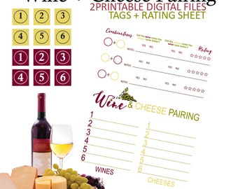 Wine and Cheese Pairing - Wine and Cheese Party - Wine Party - Cheese Party - Wine Tasting - Tasting - Printable - Instant Download