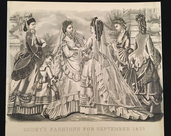 1872 Antique Victorian Fashion Print, Original Engraving from Godey's Fashions, Vintage Print for Framing