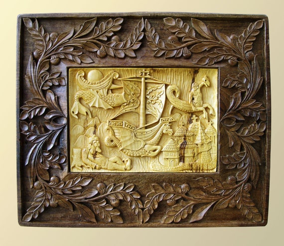 Wall art wood carving dream dragon