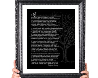 If, Rudyard Kipling poem, Gift for Son, Graduation Gift for Son, Graduation Gift for Him, Black and White Gray Grey, Tree