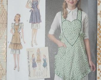 New Simplicity 1940s Vintage Apron Pattern 8232 Size A s,m,l