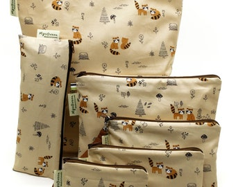 Raccoon, Reusable Snack Bags, Zippered Pouch, Waterproof pouches, Pouch Set, Snack & Sandwich Bags, Back to school, Animal prints, Baby gift