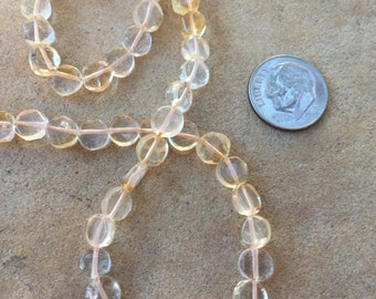 Citrine Coin Beads, smooth, center drilled. 14 inch strand, 6.5mm approx.
