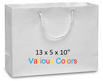 """100 - 13x5x10"""" Bags with Handles - Matte Laminate - Wedding Gift Bags - Shopping Bags - Birthday Gift Bags - Retail Bags - Wholesale"""