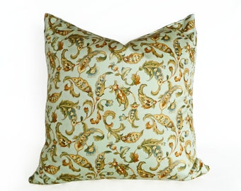 Decorative Pillows, Floral Pillows, Paisley Pillows, Jacobean, Green Gold Pillows, Green Cushion, Throw Pillow, Seafoam Pillow, 18x18, 20x20