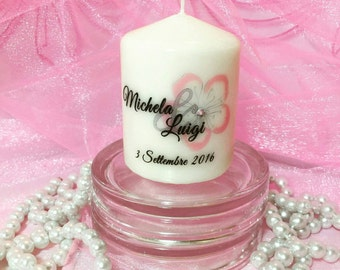 """Personalized Candle Wedding Favors Placeholder """"Flower"""""""