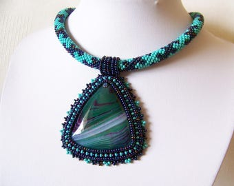 Bead Embroidery Pendant Necklace with Agate - turquoise, iridescent blue - BLUE STRIPES - agate statement necklace - triangle pendant
