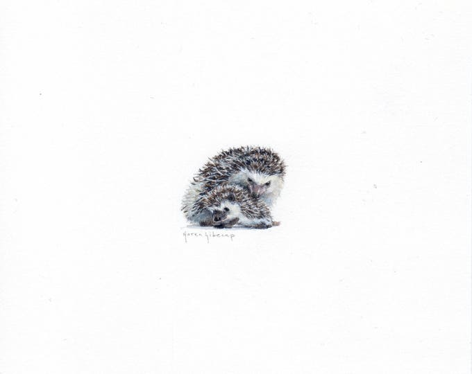 Print of Miniature painting of a hedgehogs, archival print of hedgehog tiny painting, tiny art 5 x 5