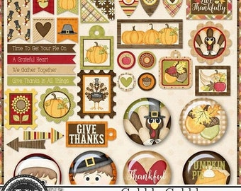 On Sale 50% Gobble Gobble Thanksgiving Mini Tags and Flairs for Digital Scrapbooking