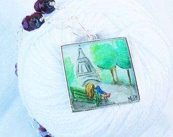 Eiffel Tower hand painted watercolor illustration necklace