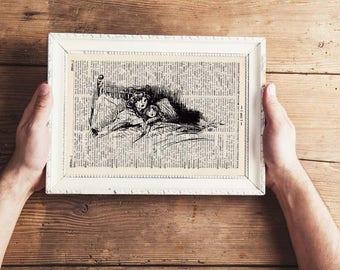 SLEEPLESS antique book page - landscape print