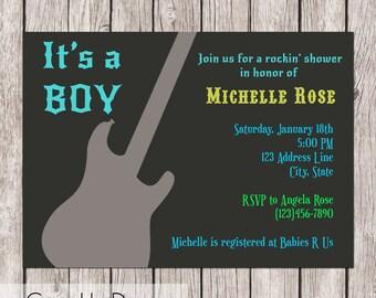 Guitar Rock Star Baby Shower Invitation - Boy - Printable - 5x7