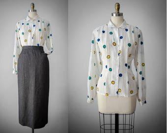 long sleeve white blouse | circle pattern shirt | nipped waist blouse | medium