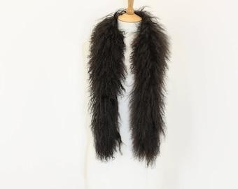 Vintage 1970s real sheepskin curly sheep fur boa scarf wrap stole brown boho sheep skin
