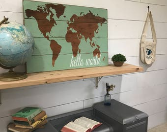 Hello World Map - World Nursery Decor - Baby Room Decor - Rustic Wood Map - Rustic World Map - Wooden Nursery Map - Map Wall Hanging