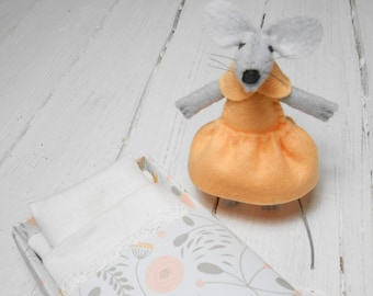 Stuffed felt mouse soft animal felt mouse in bed doll in a matchbox felt animal miniature animal apricot