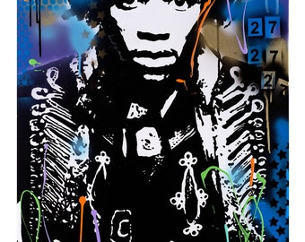 Jimmy Hendrix tribute signed limited edition print by artist Sarah Rasul